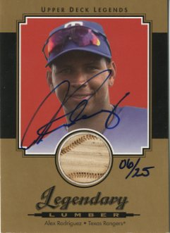 2001 Upper Deck Legends Legendary Lumber Autographs Gold #GSLAR Alex Rodriguez