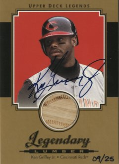 2001 Upper Deck Legends Legendary Lumber Autographs Gold #GSLKG Ken Griffey Jr.