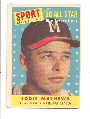 1958 Topps #480 Eddie Mathews AS front image