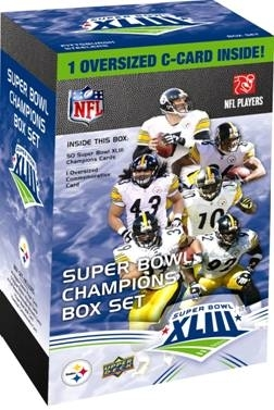 2008 2009 Upper Deck Factory Sealed Commemorative SuperBowl XLIII ( 43 ) Champions Pittsburgh Steelers 51 Card Box Set Includes Super Bowl MVP Santonio Holmes Hines Ward Ben Roethlisberger - In Stock