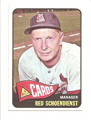 1965 Topps #556 Red Schoendienst MG SP front image