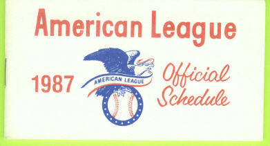 1987 American League Baseball Pocket Schedule