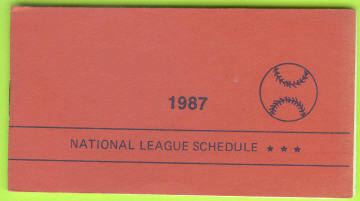 1987 National League Baseball Pocket Schedule