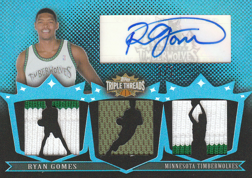 2007-08 Topps Triple Threads Relics Autographs Sapphire #119 Ryan Gomes Shoot front image