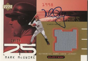 2002 Upper Deck Ovation Authentic McGwire Signatures #AMSJ Mark McGwire Jsy