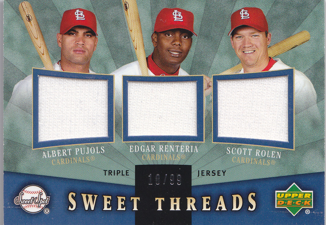 2004 Sweet Spot Sweet Threads Triple #PRR Albert Pujols/Edgar Renteria/Scott Rolen