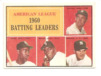 1961 Topps #42 AL Batting Leaders/Pete Runnels/Al Smith/Minnie Minoso/Bill Skowron