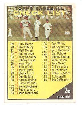 1961 Topps #98B Checklist 2 Yellow (98 Black on White)