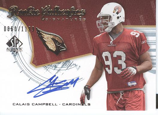 2008 SP Authentic #209 Calais Campbell AU RC