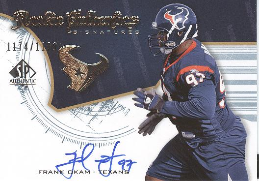 2008 SP Authentic #227 Frank Okam AU RC