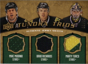 2008-09 Artifacts Tundra Trios Gold #T3MRT Mike Modano/Brad Richards/Marty Turco