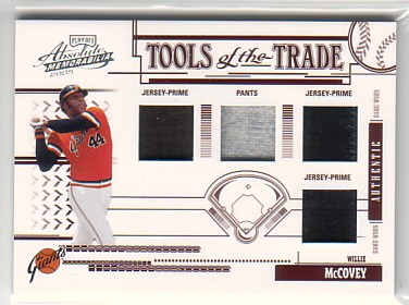 2005 Absolute Memorabilia Tools of the Trade Swatch Quad Prime Red #198 Willie McCovey J-J-J-P/5