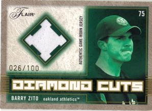 2003 Flair Diamond Cuts Jersey Gold #BZ Barry Zito