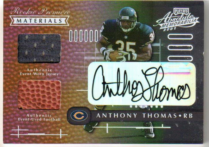 2001 Absolute Memorabilia Rookie Premiere Materials Autographs #159 Anthony Thomas