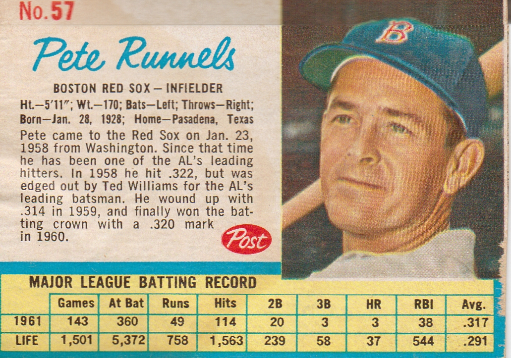 1962 Post #57 Pete Runnels