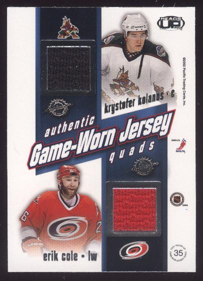2002-03 Pacific Heads Up Quad Jerseys #35 Ilya Kovalchuk/Dany Heatley/Krystofer Kolanos/Erik Cole