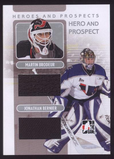 2008-09 ITG Heroes and Prospects Hero and Prospect Memorabilia #HP03 Martin Brodeur/Jonathan Bernier