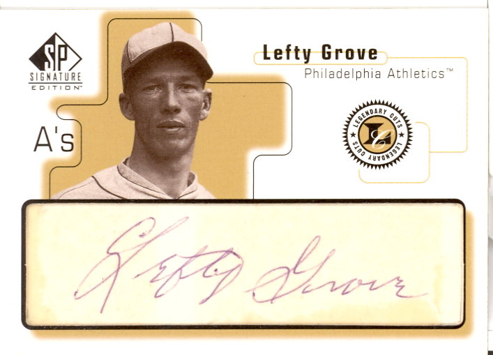 1999 SP Signature Legendary Cuts #LG Lefty Grove front image