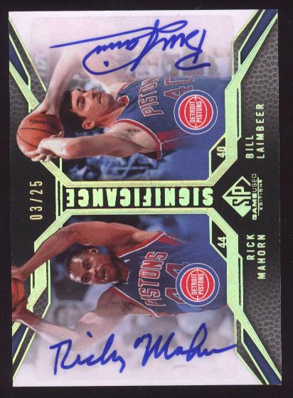 2007-08 SP Game Used SIGnificance Dual #SDLM Rick Mahorn SP/Bill Laimbeer