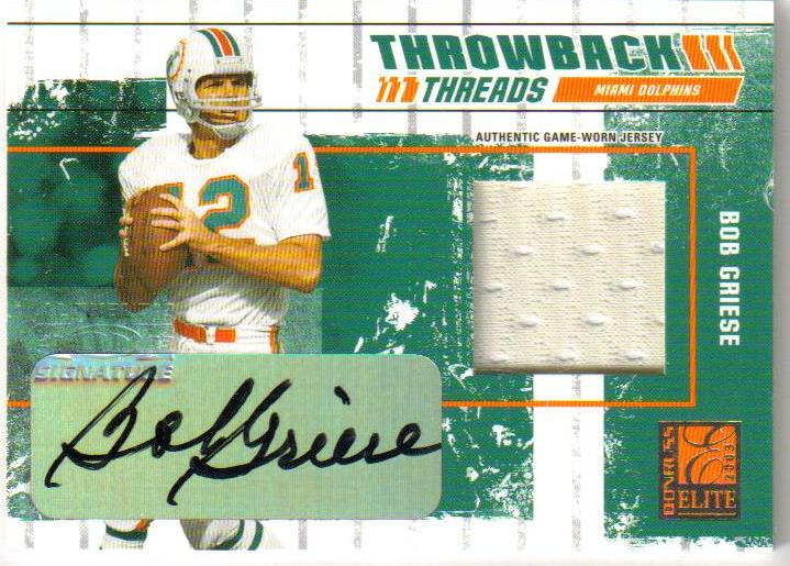 2003 Donruss Elite Throwback Threads Autographs #TT9 Bob Griese