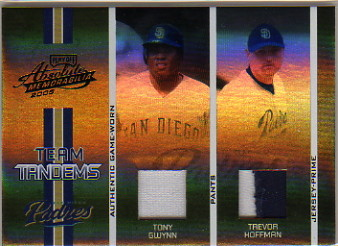 2005 Absolute Memorabilia Team Tandems Swatch Single Spectrum Prime Black #87 Tony Gwynn Pants/Trevor Hoffman Jsy/150