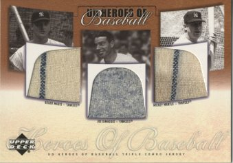 2001 Upper Deck Prospect Premieres Heroes of Baseball Game Jersey Trios #MMD Maris/Mant/DiMag SP