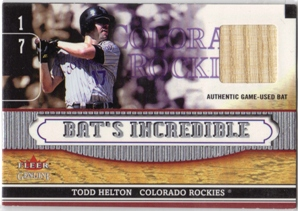 2002 Fleer Genuine Bats Incredible Game Used #1 Todd Helton