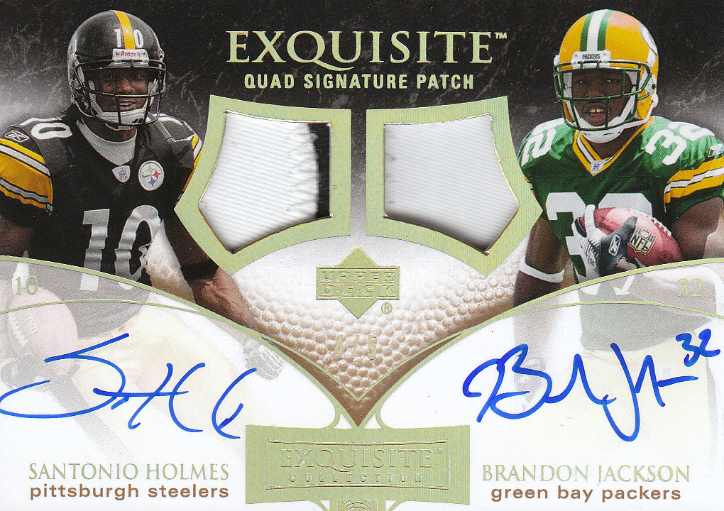 2007 Exquisite Collection Signature Swatches Quads Patch #HJBH Reggie Brown/Brandon Jackson/Tony Hunt/Santonio Holmes front image