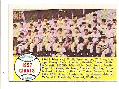 1958 Topps #19 San Francisco Giants TC