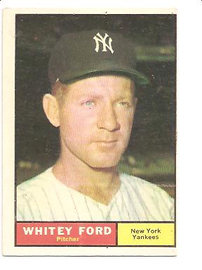1961 Topps #160 Whitey Ford UER/Incorrectly listed/as 5'0 tall front image