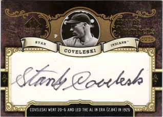 2007 SP Legendary Cuts Inside the Numbers Cuts #SC Stan Coveleski/72