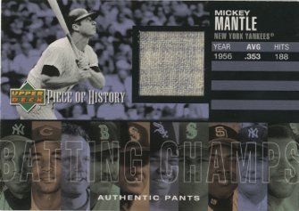 2002 UD Piece of History Batting Champs Jersey #MM M.Mantle Pants SP/50