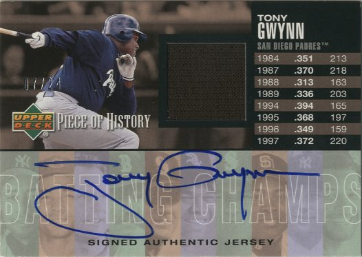 2002 UD Piece of History Batting Champs Jersey Signatures #TG Tony Gwynn