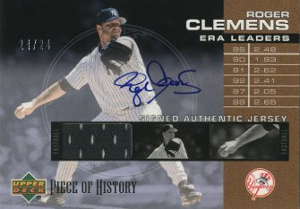 2002 UD Piece of History ERA Leaders Jersey Signatures #SELRC Roger Clemens