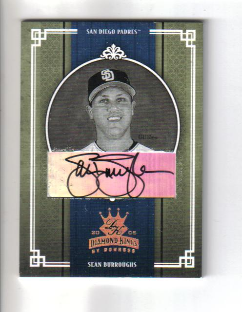2005 Diamond Kings Signature Gold B/W #185 Sean Burroughs/25