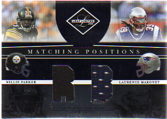 2008 Leaf Limited Matching Positions Jerseys #14 Willie Parker/Laurence Maroney