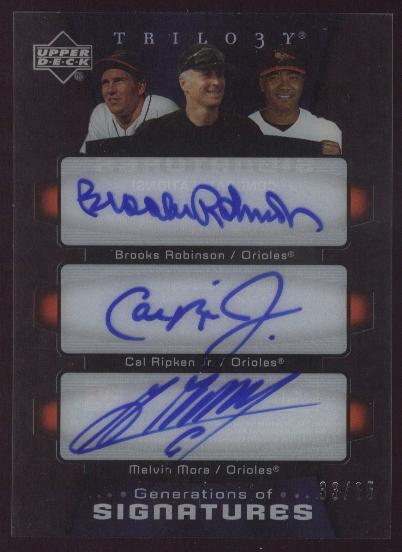 2005 Upper Deck Trilogy Generations of Signatures Triple #RRM Brooks Robinson/Cal Ripken/Melvin Mora