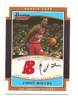 2002-03 Bowman Signature Edition #SECW Chris Wilcox JSY AU RC