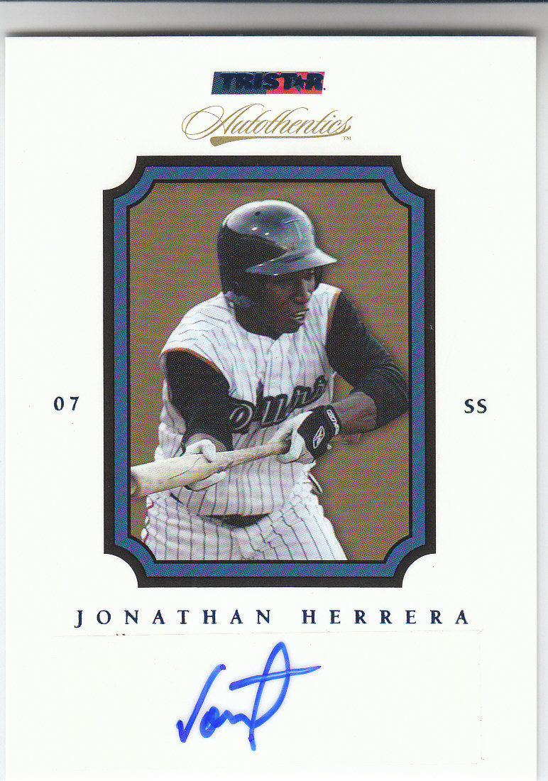 2007 TRISTAR Autothentics Autographs Blue #56 Jonathan Herrera