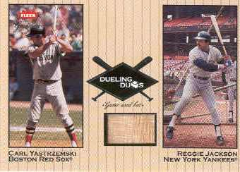 2002 Greats of the Game Dueling Duos Game Used Single #RJ1 Carl Yastrzemski/Reggie Jackson Bat