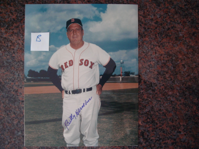 Billy Herman Autographed 8 X 10 Red Sox Picture With COA pose B