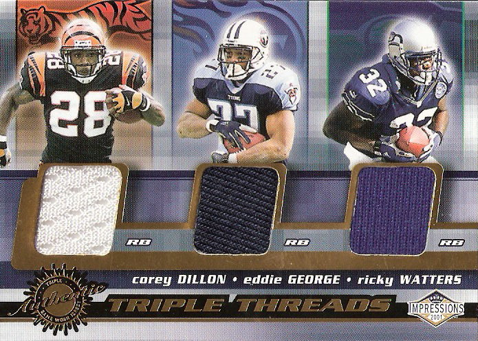 2001 Pacific Impressions Triple Threads #12 Corey Dillon/Ricky Watters/Eddie George
