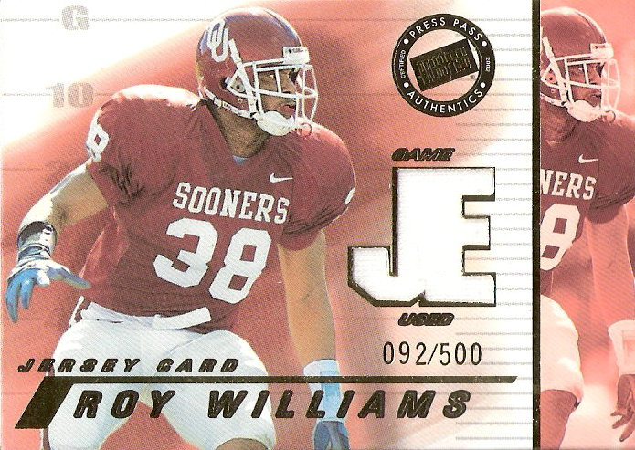 2002 Press Pass JE Game Used Jerseys #JERW Roy Williams