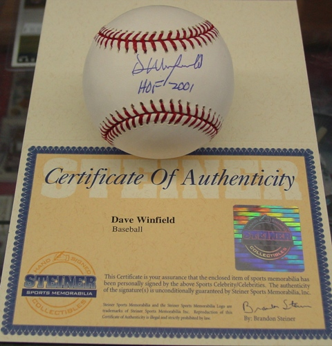 Dave Winfield signed Baseball with HOF Steiner