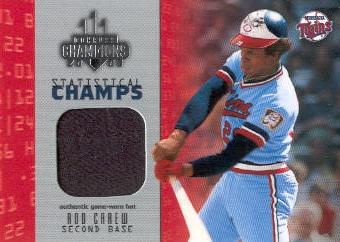 2003 Donruss Champions Statistical Champs Materials #27 Rod Carew Hat/150