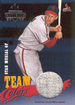 2003 Donruss Champions Team Colors Materials #10 Stan Musial Jsy/200