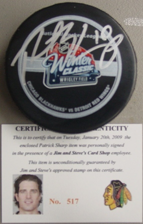 Patrick Sharp signed Winter Classic game puck with cert/holograms