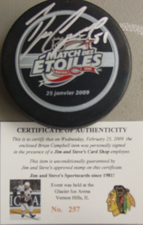 Brian Campbell signed 2009 All Star game puck with cert/holograms