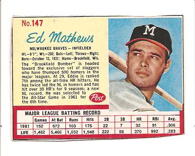 1962 Post #147 Eddie Mathews front image