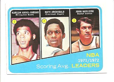 1972-73 Topps #172 Kareem Abdul-Jabbar/Nate Archibald/John Havlicek LL
